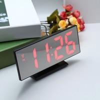 ساعة تنبيه LED ساعة رقمية متعددة الوظائف مرآة غفوة عرض الوقت ليلة LCD مصباح الطاولة مكتب كابل يو اس بي ساعة رقمية