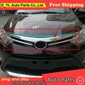 DYL For Toyota Vios Grille chrome trim car styling 2014~2016 For Vios metal Grille strip stickers Car Special high-quality