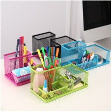 Office Supplies Stationery Pencil Pen Holder Mesh Table Desk Organizer Storage Case pink green blue black