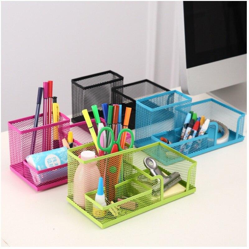 Office Supplies Stationery Pencil Pen Holder Mesh Table Desk Organizer Storage Case Pink Green Blue Black