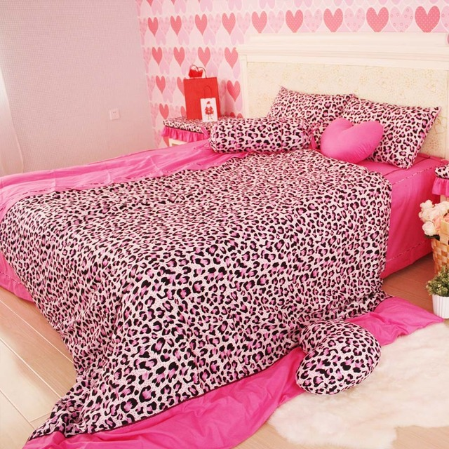 Modern Sexy Leopard Print Comforter Set Korean Pink Bedding Sets,queen Twin  Bed In The