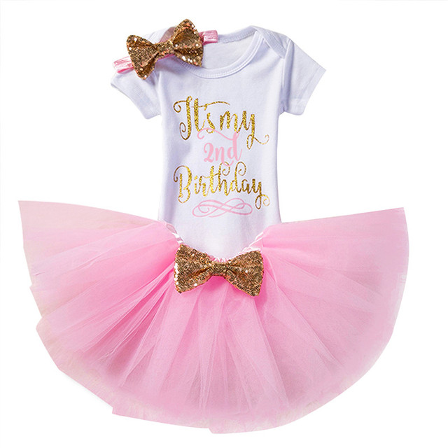 Summer Gold Baby Dress Infant Dresses For Girls 2nd Birthday Outfits Kids Party Costume