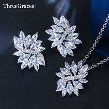 ThreeGraces Exquisite Women Accessory Cubic Zirconia Crystal Big Flower Pendant Jewelry Set For Girlfriend's Gift JS010