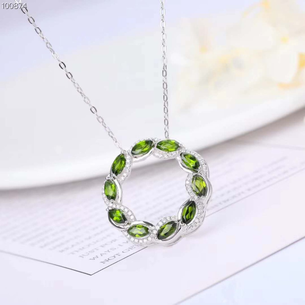 Natural Diopside Pendant Necklace 925 Sterling Silver Topaz Gemstone Necklace Fine Jewelry Green Circle Birthday Gift MEDBOO tardoo crossed double circle necklace 925 silver simple double circle gold necklace women fine jewelry hoop pendant necklace