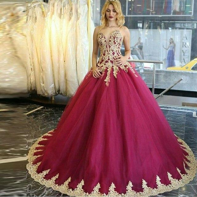 vestido de festa 2017 Luxury Princess evening Dresses Gold Appliques ...
