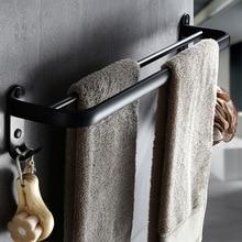 Badkamer 50cm dubbele Bar Zwart Handdoekenrek Muur gemonteerde Zwarte Wc Ruimte Aluminium Handdoek Bar met Haak Badkamer accessoires