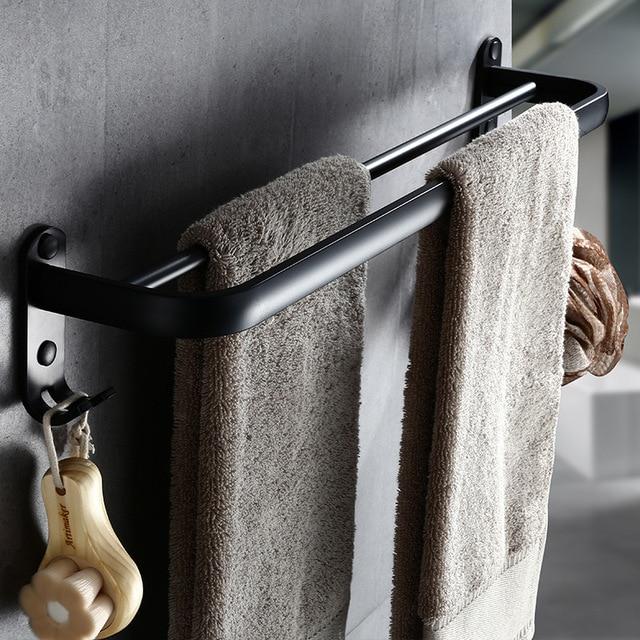 Bathroom 50cm double Bar Black Towel Rack Wall mounted Black Toilet Space Aluminum Towel Bar with Hook Bathroom Accessories