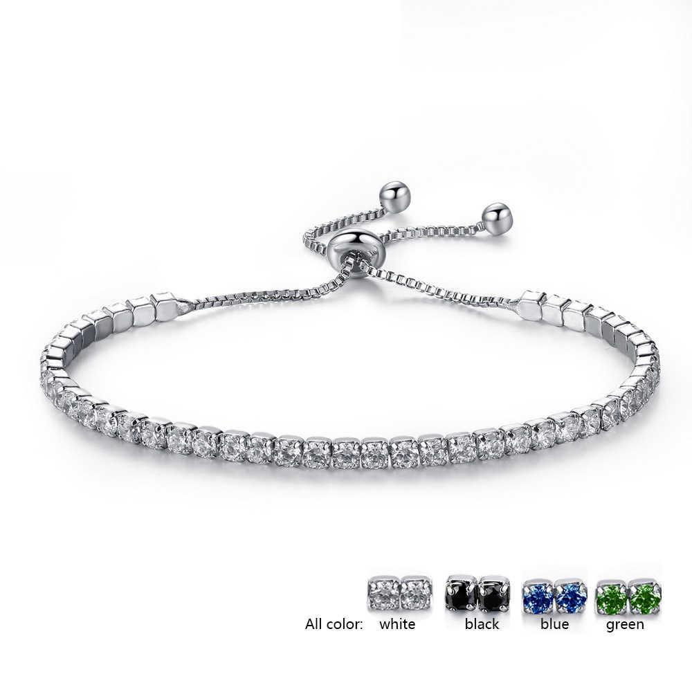5660e36daec7 ... Pulsera de tenis ajustable de alta calidad para mujer Color plata azul  verde negro piedra de ...