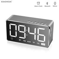 Digital Alarm clock with Mirror Bluetooth Speaker alarm Clocks Built in TF Card Portable speakers Control LED Display XIAOKOA