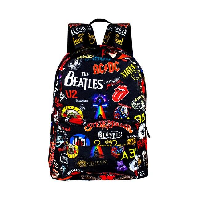 Рок-Группа The Beatles/ACDC/Iron Maiden/Metallica рюкзак Мальчики Девочки Рюкзак Школьные Сумки для Подростка Женщины Мужчины Рюкзак