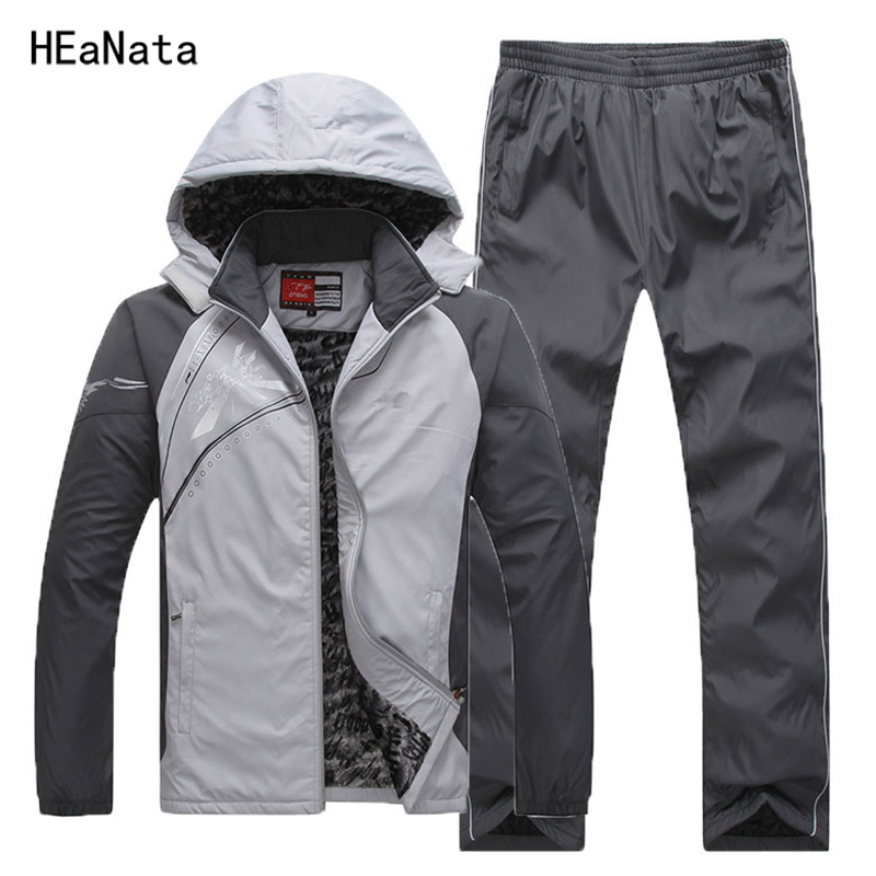 Winter Sets Plus Velvet Men Sport Suits 2018 New Sportswear Set Fitness Warm Tracksuit Zip Pocket Casual Suit Male's Clothing