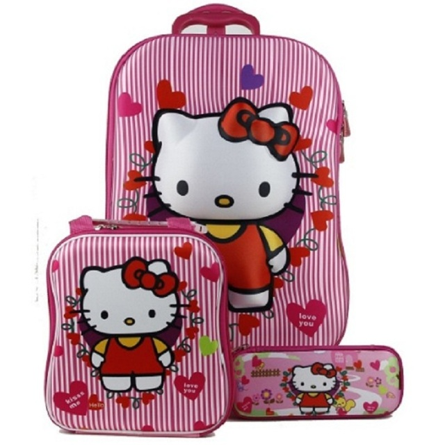 da4785602f59 Hot 3PCS set 3D stereo trolley case Cute hello kitty anime kids Travel  suitcase girl cartoon luggage EVA children schoolbag