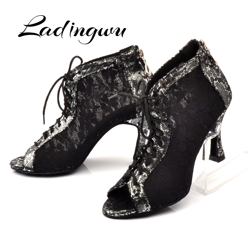 Ladingwu Latin Dance Shoes Wonen Black White Lace Dance Boots Ladies Comfortable Ballroom Paty Dancne Shoes Salsa Shoes Woman
