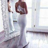 2018 Summer Sexy Halter Lace Bodycon Dress Women Deep V Neck Elegant Long Dress Vestidos White