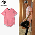 2016 NEW kanye Men's T-shirts Black red Stripe cotton long o-neck t shirt hip hop street wear plus size M-XXL