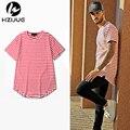 2016 NOVO kanye T-shirt dos homens Preto e vermelho de algodão Listra longo o-pescoço camiseta hip hop street wear plus size M-XXL