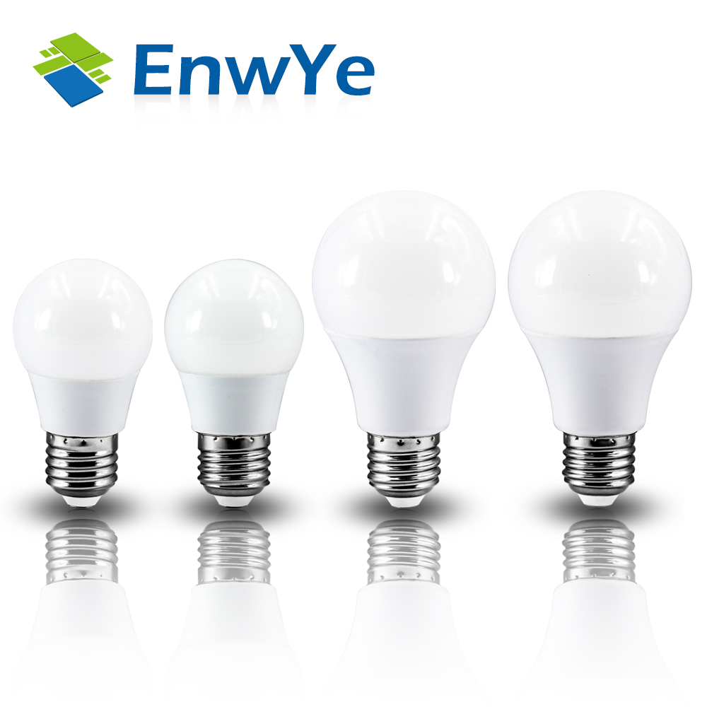 EnwYe LED Bulb Lamp E27 4W 6W 9W 12W 220V Smart IC Real Power Cold White/Warm White Lampada Ampoule Bombilla LED 5pcs e27 led bulb 2w 4w 6w vintage cold white warm white edison lamp g45 led filament decorative bulb ac 220v 240v