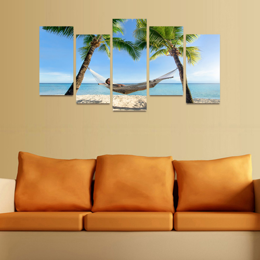 5 Panels Canvas Print Swing Man Btween Two Coconut Trees Painting ...