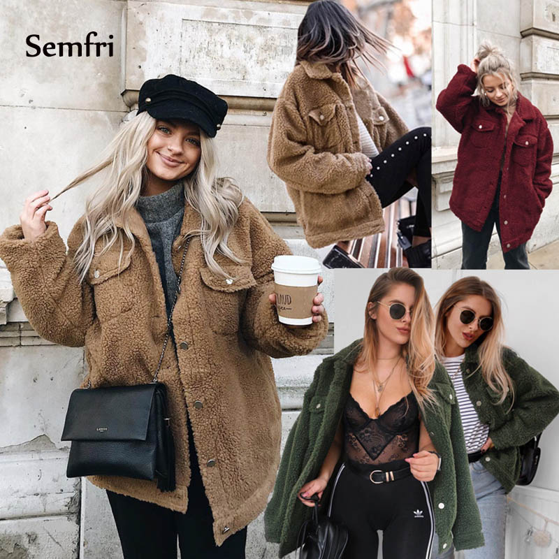 Semfri Faux Fur Coat Women 2019 Autumn Winter Elegant Warm Soft   Basic     Jacket   Female Long Sleeve Outerwear Plush Overcoat Hot