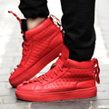 2016 Nova Ankle Boots Outono homens sapatos de Couro marca De luxo Homens high top Casual Shoes flats shoes Red Shoes Para O tamanho Dos Homens 39-44