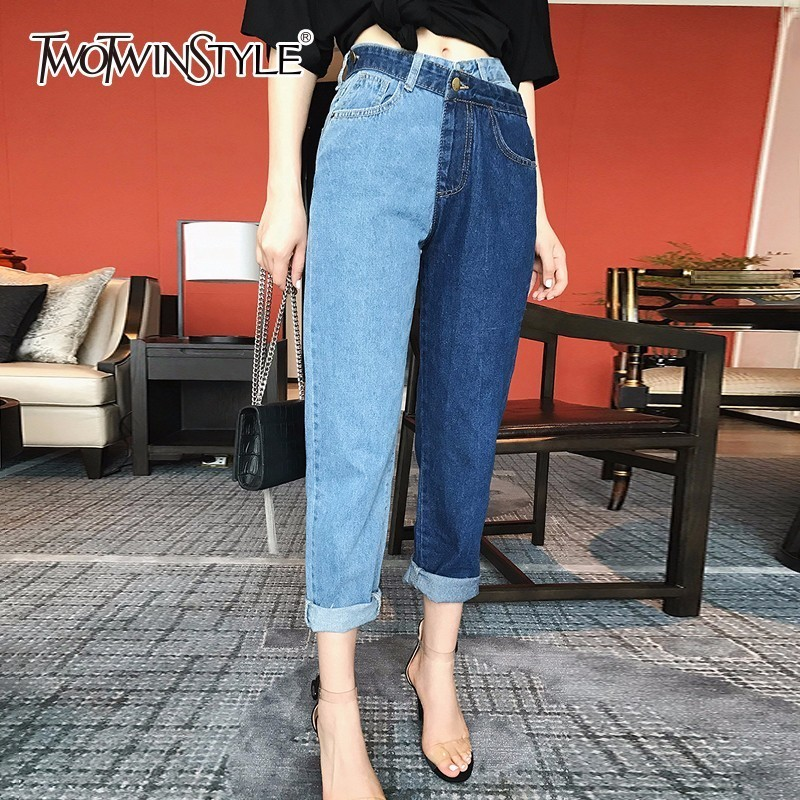 TWOTWINSTYLE Patchwork Jeans For Women High Waist Plus Size Irregualr Long Trousers Female 2019 Summer Fashion