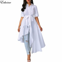 Echoine 2018 Spring White Asymmetrical Shirt Dress Turn Down Collar Half Sleeve Hi Low Maxi Dresses