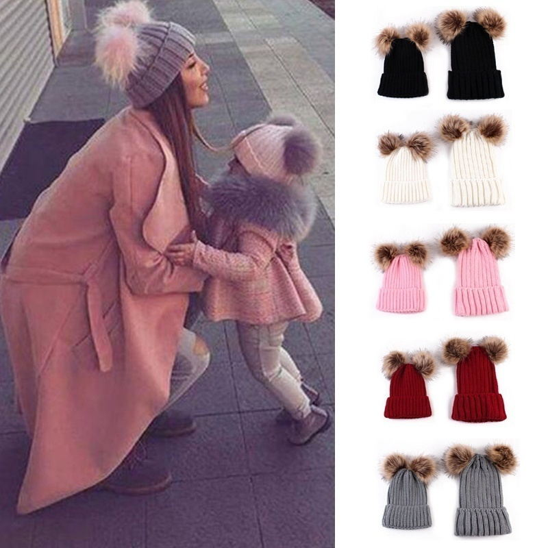 JRNNORV Cap Hat Cap-Hat Beanies Knitted Female Autumn Winter Baby-Girls Women Plush-Ball