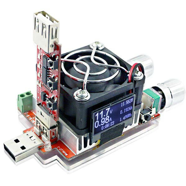 35W Constant Current Double Adjustable Electronic Load With QC2.0/3.0 Trigger Quick Voltage USB Tester Voltmeter Aging Discharge 110w constant current electronic load tester 10a 1v 30v battery discharge capacity test equipment