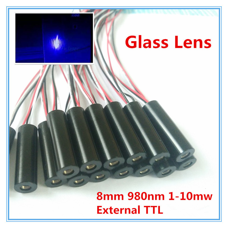 External TTL 8mm 980nm 1mW 5mW 10mW Glass Lens IR Dot Laser Module Industrial Grade APC Driver