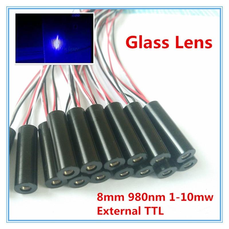 External TTL 8mm 980nm 1mW 5mW 10mW Glass Lens IR Dot Laser Module Industrial Grade APC Driver