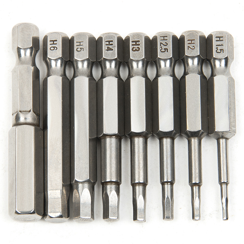 High Quality 8pcs 50mm S2 Steel Inner Hexagon Head Screw <font><b>Driver</b></font> Screwdrivers Kit Hand Tools Magnetic Drill Screwdriver Set Bits image