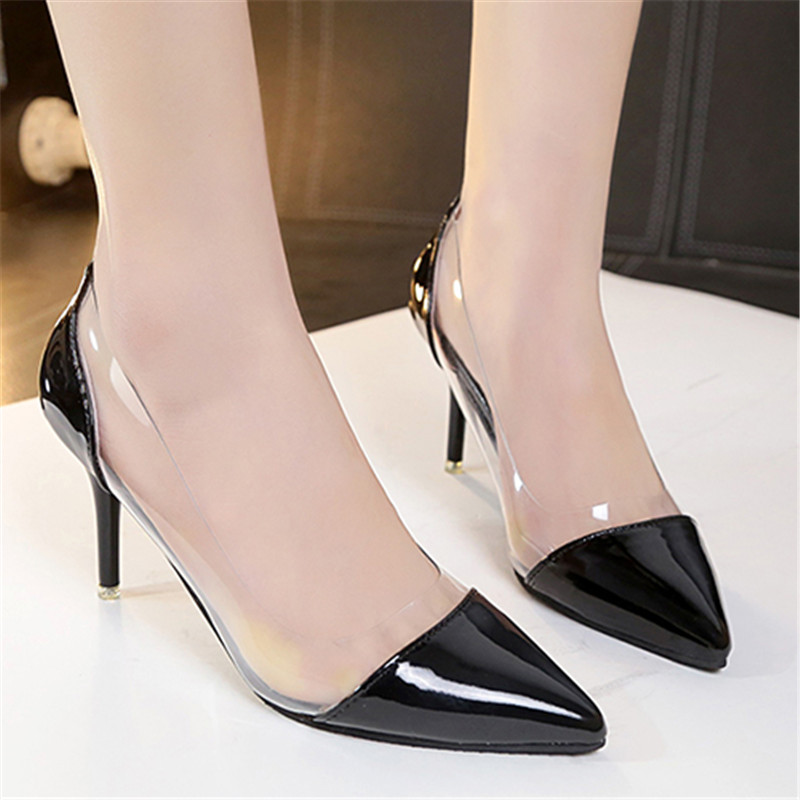 US $14.39 82% OFF|BYQDY Big Discount Comfortable Women High Heel Luxury Brand Exclusive Leather PVC Shallow Pointed Toe Pumps Party Shoes Stiletto in