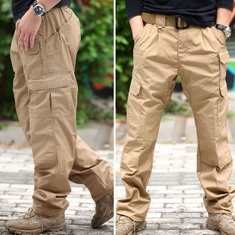 Plaid Fabric Water Repellent Ripstop Tactical Pants Outdoor Training Hiking Waterproof Loose Pocket Straight Overalls Trousers