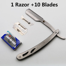 1 set Lelaki Straight Barber Edge Steel Razors Folding Shaving Knife Hair Removal Tools With 10 pieces Blades