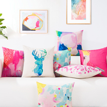 Nordic Geometry Pink theme Watercolor 4531 Home Decorative Pillow Case Sofa Chair Waist Pillow cover Thick Linen Cushion Cover