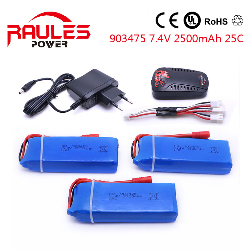 3 batteries charger syma X8C Power Lipo Battery 7 4v 2500mah 25C JST Plug For font