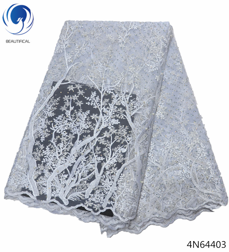 Beautifical lace fabric white lace fabric wholesale french lace fabrics 2018 with lots rhinestones and sequins and beads 4N644Beautifical lace fabric white lace fabric wholesale french lace fabrics 2018 with lots rhinestones and sequins and beads 4N644