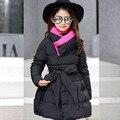 Grandes abrigos de los bebés dress ropa de abrigo de algodón acolchado chaqueta larga invierno muchacha de los cabritos 2017 nuevos gruesos de color rosa púrpura negro niños top