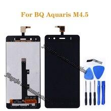 Bq aquaris m4.5 lcd 디스플레이 + 터치 스크린 구성 요소에 대한 4.5 인치 오리지널 m4.5 유리 스크린 수리 부품 + 도구로 대체