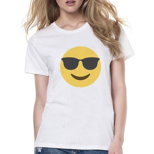 cool guy emoji t shirt female design print women t shirt 2017 new
