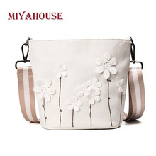 Miyahouse Large Capacity Messenger Bag With Striped Strap Canvas Material Crossbody Bag For Female Floral Print Shoulder Bag