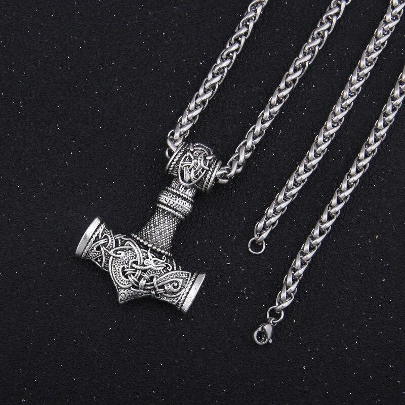 Viking Thors Hammer Necklace Mjolnir Viking  Silver Steel Keel Chain Thor Nordic