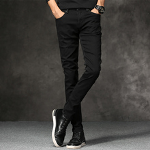 Casual jeans youth stretch Slim free ironing pencil pants feet pants cotton black waist trousers free shipping цены онлайн