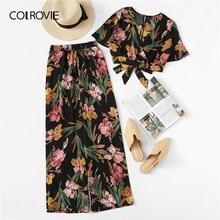 COLROVIE Artı Boyutu V Boyun Cüppe Çiçek Baskı Bluz Pantolon Ile Kadınlar Boho Iki Parçalı Set 2019 yaz giysileri Tatil Kıyafetler