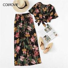 COLROVIE Plus Size V Hals Superplie Bloemenprint Blouse Met Broek Vrouwen Boho Tweedelige Set 2019 Zomer Kleding Vakantie outfits