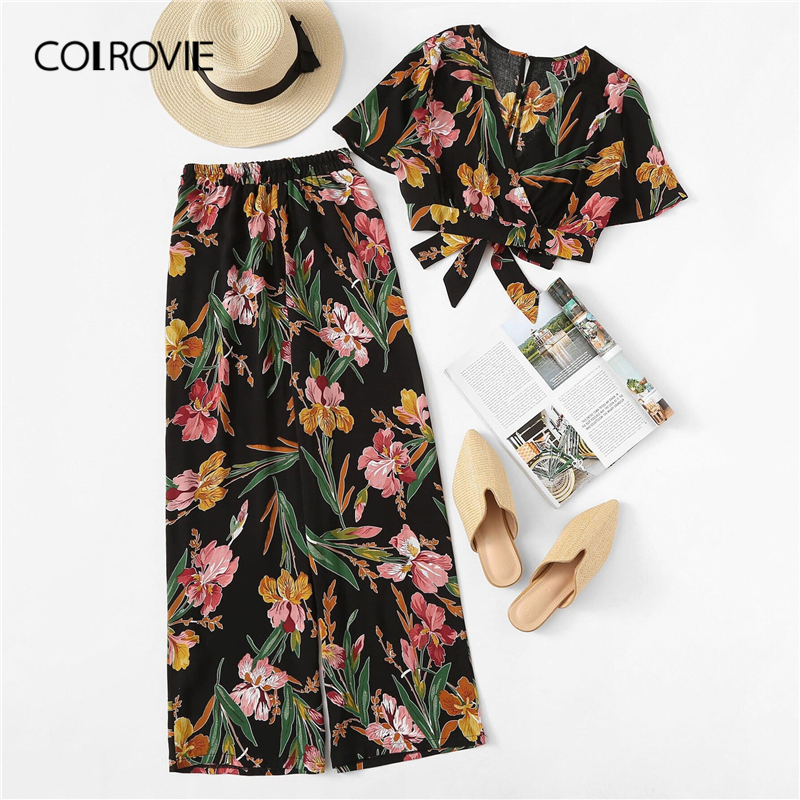 COLROVIE Plus Size V Neck Surplice Floral Print Blouse With Pants Women Boho Two Piece Set 2019 Summer Clothes Holiday Outfits