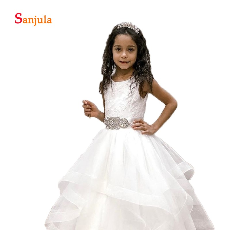 Tiers Tulle Skirt Ivory   Flower     Girls     Dresses   Puffy A-Line   Girls   Pageant Party   Dresses   Beaded Belt Lace First Communion DressD801
