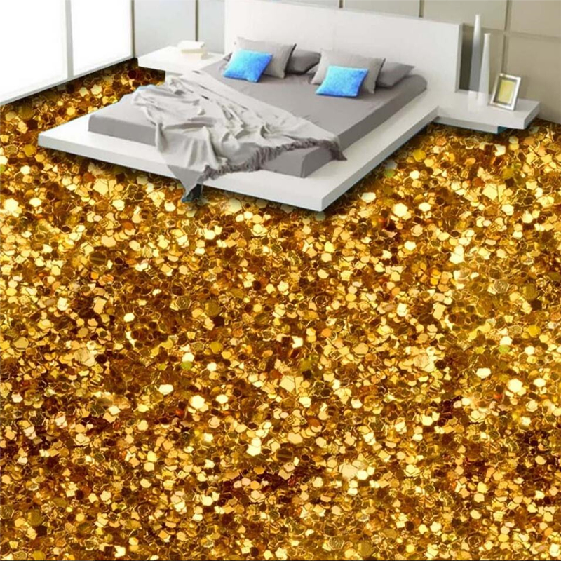 Wellyu 3D Gorgeous Gold Floor Of The Three-dimensional Floor Custom Large-scale Murals Pvc Waterproof Thickened To Wear