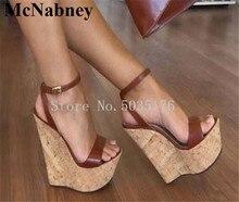 купить 2019 European Fashion Wooden Heel Peep Toe Ankle Strap Buckle Platform Women Sandals High Heel Wedges Heel Dress Women Shoes дешево
