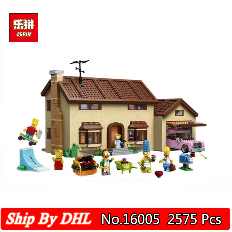 LEPIN 16005 Anime Series The Simpsons House Model 2575Pcs Building Blocks Kits Compatible LegoINGs 71006 Bricks Toys lepin movie figures 16005 2575pcs the simpsons house model building kits blocks bricks educational kid toy compatible with 71006